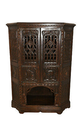 Gorgeous Antique French Gothic Cabinet, Intricate Carvings, Turn of the Century