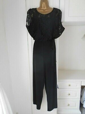 Smart Black Jumpsuit By M&S In Vg Con Size Uk 20-22-24 Bust 54""