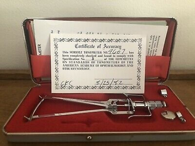 Schioetz Tonometer Improved, Certificate of Accuracy No. 9607