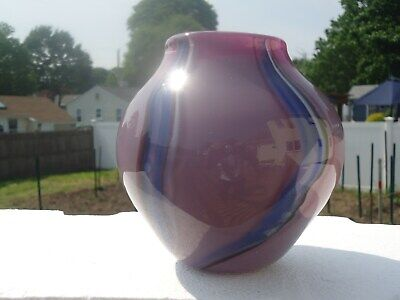 Studio Made Signed Ken Ostrow Lavender & Blue Swirl Art Glass Vase