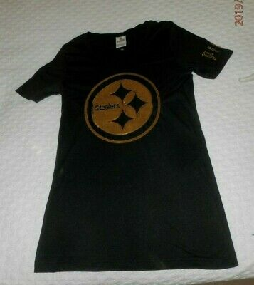 4df5a0b3dc2 Womens Victoria Secret PINK Pittsburgh Steelers Black S/S SHIRT Sequins  Small