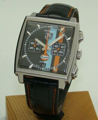 "Tag Heuer Limited Edition ""Gulf"" Stainless Steel Monaco Chronograph Watch Cw211A"