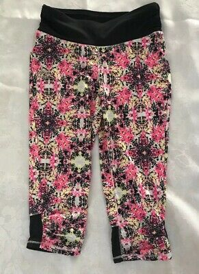 RBX Girls Cropped Athletic Leggings Work Out Yoga Black Pink Size Small S