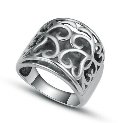 Women Lady Stainless Steel Fashion Silver Simple Finger Rings Jewelry Size 7 8 9