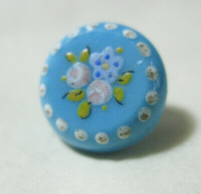 Stunning Hand Enameled Victorian Blue Glass Button 15Mm Diam