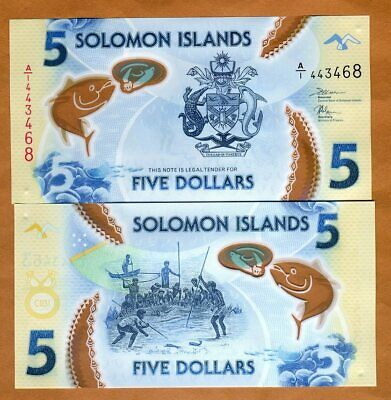 Solomon Islands, $5, ND (2019), P-New A/1-Prefix, Polymer, UNC