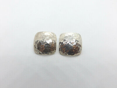 Vintage Taxco Mexico Sterling Silver Hammered Square Dome Earrings, 11.1 grams