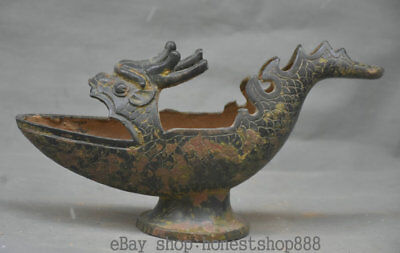 "12.4"" Old China Bronze Ware Dynasty Dragon Head Wine Pot wineglass drinking cup"