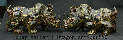 "10"" Old Chinese Xiu Jade Hand Carved Feng Shui Rhinoceros Oxen Bull Statue Pair"