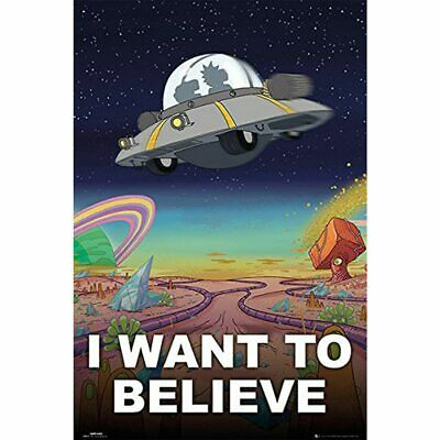 "Framed Rick And Morty ""I Want to Believe"" Modern Decor Canvas Wall Art HD Print"