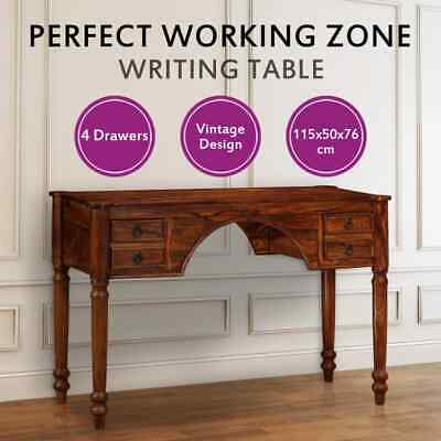 vidaXL Solid Sheesham Wood Writing Table Study Desk Vintage Retro Antique