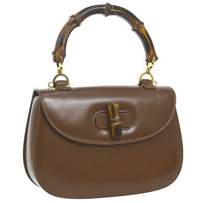 56c1649c0 Auth GUCCI Bamboo Line 2way Hand Bag Brown Leather Italy Vintage O02469