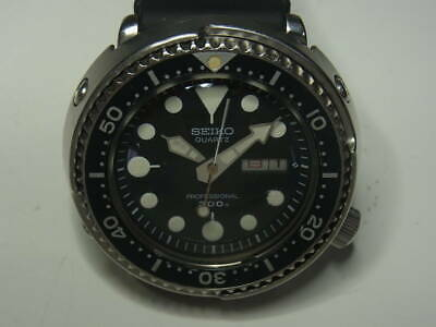Seiko 300m Diver Professional Battery Exchange Mens Wrist Watch Rubber Belt