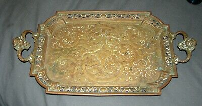 Antique 1800's Oriental Dragon Handle Solid Brass Tray / Very Heavy Ornate
