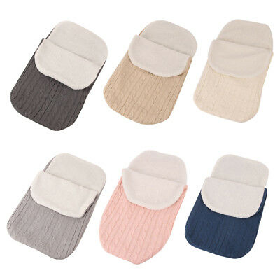 Newborn Baby Infant Knit Swaddle Wrap Swaddling Blanket Fleece Sleeping Warm Bag