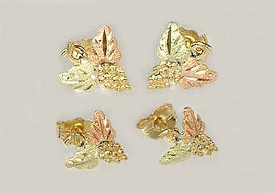 Handcrafted South Dakota Black Hills 12kt Red Green Gold Leaf Studs Viking Celt