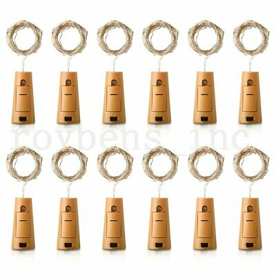 1/2/4/6/12Pcs 2M 20 LED Wine Bottle Fairy String Light Cork Starry Night Lamp UK