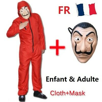 La casa De Papel Costume Rouge Combinaison Mask Salvador Dali Money Heist FR kid
