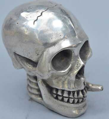 China Collectable Handwork Miao Silver Carve Smoking Ghost Skull Souvenir Statue