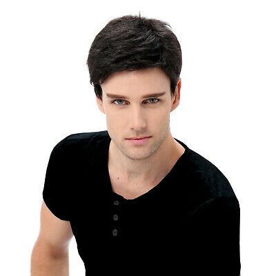Mens Wig Ombre Blonde Black Short Straight Layered Synthetic Hair Toupee Male AU