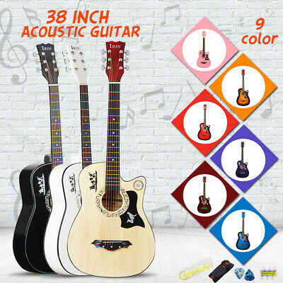 38 IN 6 String Wood Acoustic Guitar Beginner Gifts with Bag Picks Pitch Pipe