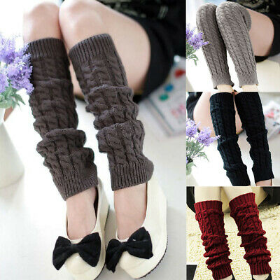 1 Pair Women Long Leg Warmers Solid Color Boots Cuffs Knit Leg Warm Socks