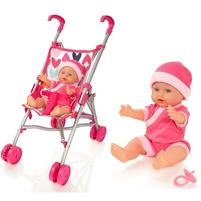 Molly Dolly My First Dolls Pram Buggy Pushchair & Baby Doll Stroller Set Girls