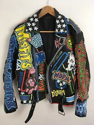 VINTAGE HAND PAINTED PUNK ROCK Motorcycle Leather Jacket Size 40 Rancid DK