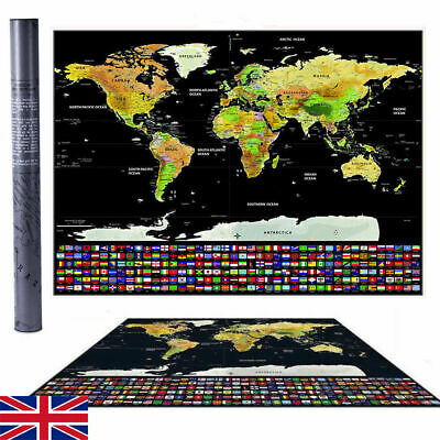 Travel Tracker Large Scratch Off World Map Poster with UK States Country Flags