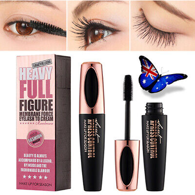 Black 4D Silk Fiber Eyelash Mascara Extension Makeup Waterproof Kit Eye Lashe AU