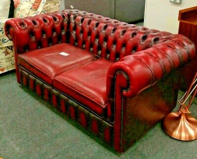 994c9ff61596 Classic CHESTERFIELD Style Oxblood Red Genuine Leather 2 Seater Tub Sofa -  H64