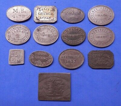 Scottish Communion Tokens 1780's-1850's Lead / WM for Various Places: See Menu