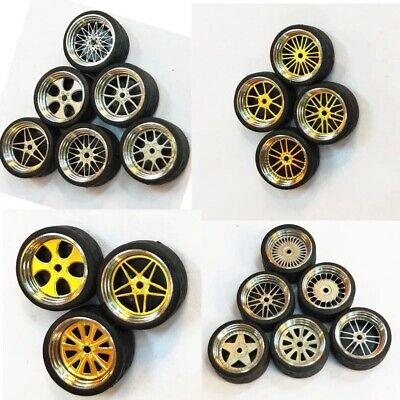 1/64 Scale Alloy Wheels - Custom Hot Wheels, Matchbox,  Tomy, Rubber Tires  z