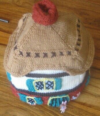 Hand Knitted Fairy Woodland Cottage Padded Teapot Cover / Cosy.