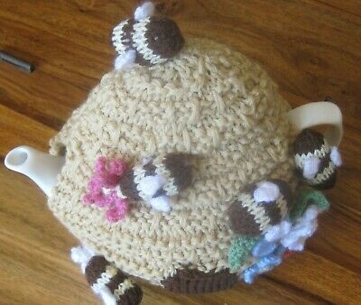 Hand Knitted Save The Bees Teapot Cover / Cosy. Great Design
