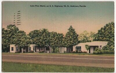 St Andrews Florida FL Lone Pine Motel US Highway 98 1952 Vintage Linen Postcard