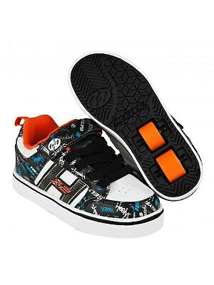 Heelys Black-White-Orange-Cyan Bolt Plus Kids Two Wheel Shoe