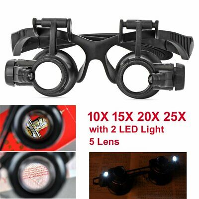 Headband Magnifier with 2 LED Light 5 Lens Hands free Magnifying Eye Glass Loupe
