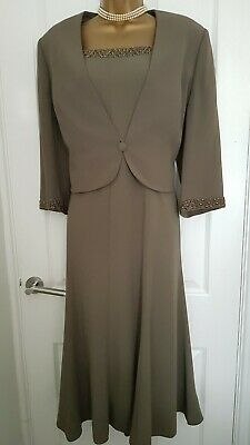 Beautiful Jacques Vert Dress 16 & Jacket 18 Suit MOB Guest