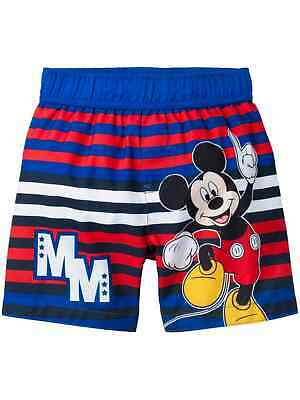Toddler Boys Blue Red & White Mickey Mouse Striped Swim Trunks Board Shorts