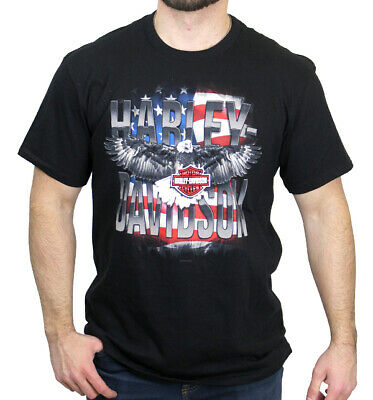 Harley-Davidson Mens USA Patriot Eagle American Flag Black Short Sleeve T-Shirt