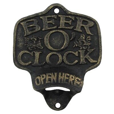 Beer O' Clock Open Here Wall Mount Bottle Opener Rustic Cast Iron Bar Pub Decor