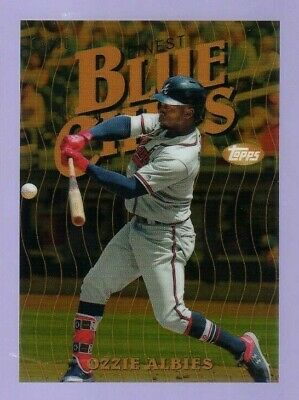 2019 Topps Finest ...  Ozzie Albies Gold Blue Chips Refractor #15/50 ... Braves