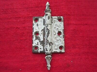 "1 ANTIQUE ORNATE VICTORIAN CAST IRON 2 1/2"" x 3"" STEEPLE TIP DOOR HINGE #2"