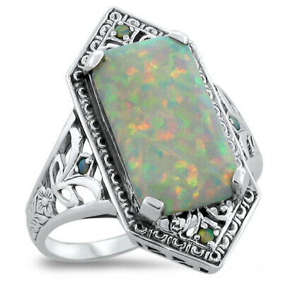 5 CT GREEN LAB AMETHYST /& PEARL VICTORIAN .925 SILVER RING SIZE 10 #535