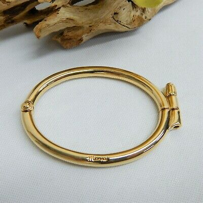 6654ca1ff0485 MIANSAI YELLOW GOLD Plated Side Cuff Bracelet Hinged With Screw Down Clasp