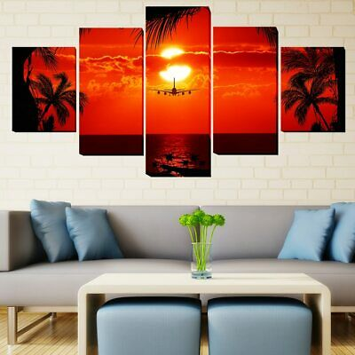 5 Panel Framed Plane into Tropical Red Sunset Modern Wall Art Canvas HD Print