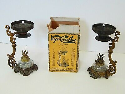 2 Antique VAPO CRESOLENE Mini Oil Lamp Quack Medicine with Box