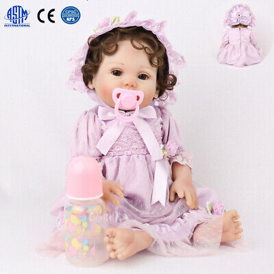 "18"" Reborn Baby Dolls Full Body Silicone Vinyl Handmade Newborn Girls Gifts Doll"