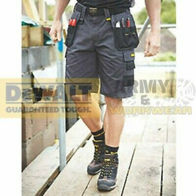 4f59276fd5 DeWalt Mens Work Shorts Grey Tuff Rip Stop Cargo Holster Pocket Double  Stitched